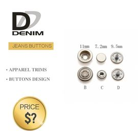 Professional Denim Metal Buttons, Tapered Pearl Snap Buttons Ukuran Khusus